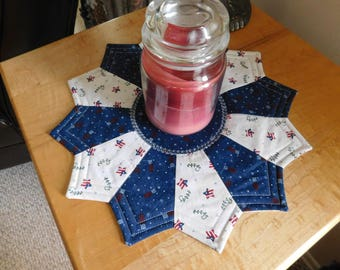 Flags and Stars; Ameriana themed Reversible Candlemat; Miniature Quilt; Small Quilt;Table mat,