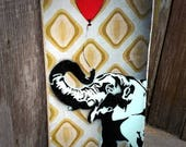 Blue Elephant Graffiti Art Painting on Canvas Pop Art Style Original Artwork Stencil Urban Street Art