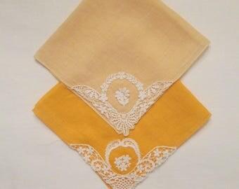 "Two Vintage Collectible Handkerchiefs - Fine Cotton Lace Applique Hankies - Peach/Tangerine - ""Something Old"""