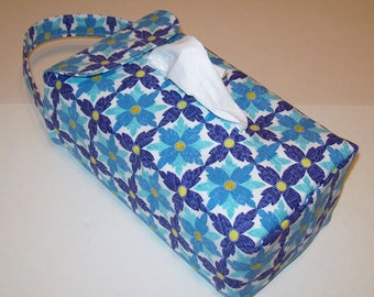 NEW!  Automobile Hanging Tissue Box Cover / Tissue Box Cozy / Automobile Accessory For Your Car / Blue Tea Flower