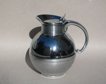 Art Deco Manning Bowman Chrome Carafe Insulated Hot Coffee Cold Beverage Ball Pitcher Chrome Thermal Carafe