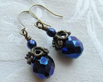 50% Off- Indigo Blue Czech Glass Earrings, Antique Brass