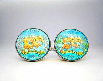 USA Quarter coin cufflinks  Nevada  State 24mm