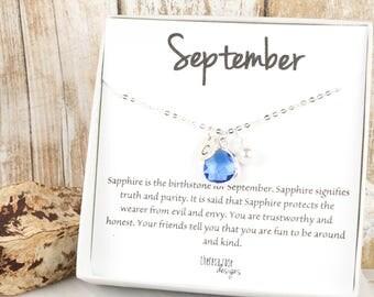 September Sapphire Birthstone Personalized Silver Necklace, Sapphire Necklace, September Birthday Jewelry, Personalized Silver Necklace #869