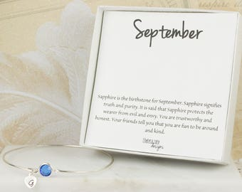 Personalized September Birthstone Sterling Silver Bangle Bracelet, Sapphire Sterling Silver Bracelet, Personalized Bracelet #763