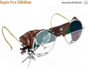 Steampunk Goggles Antique Rare 2 Tone Steam Punk Glasses GREEN & Clear LEATHER Side Shield Aviator Glasses Loupes Great Cond - by edmdesigns