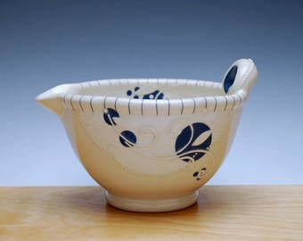 Batter / mixing Bowl in Ivory w. Indigo blue polka dots & detail, Handmade Victorian modern