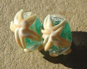 Handmade glass- lampwork bead pair- starfish beads with bubble surf in teal,  and ivory.