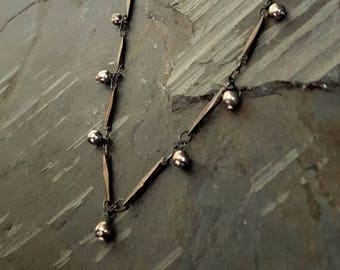 Sterling Silver Bead Black Bar Chain, Black Chain, Dangle Bead, Dangling Bead Charm, Simple Everyday, Layer Chain