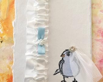 Unique Wedding Garter, Satin Garter, Bridal Shower Gift, Bridal Shower Card, Hand Painted Bridal Card, Weddings, Something Blue, Garter