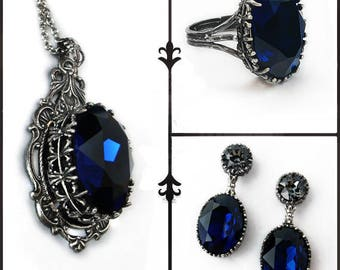 Blue Gothic Jewelry Set Dark Indigo Swarovski Necklace Earrings Oxidized Silver Gothic Jewelry Set hypoallergenic nickel free jewelry