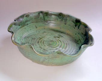 Camouflage Green Fluted Pie Pan - Pie Plate - Large Sized Pie Pan  - Dish - Wheel Thrown Pottery
