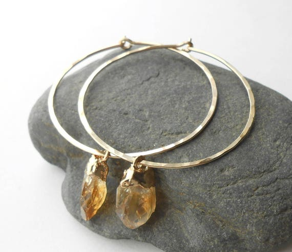 Raw Citrine Earrings, Gold Hoop Earrings, Hammered Gold Filled Hoops With Small Citrine Nuggets, Natural Gemstone
