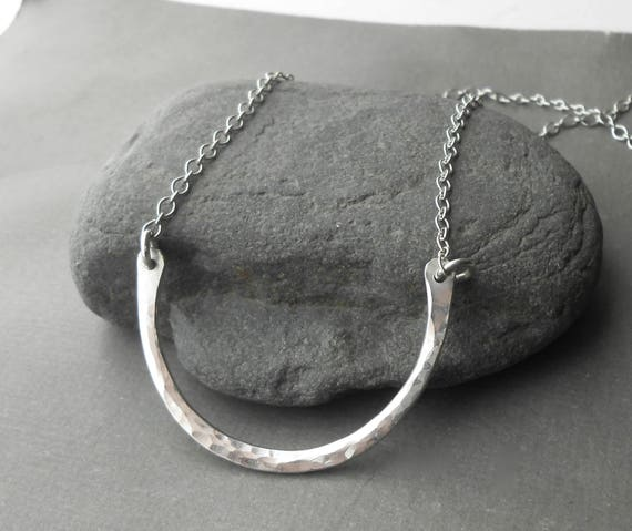 Hammered Silver Pendant Half Circle, Long Sterling Silver Necklace, Mimimal Jewelry, Choose Length