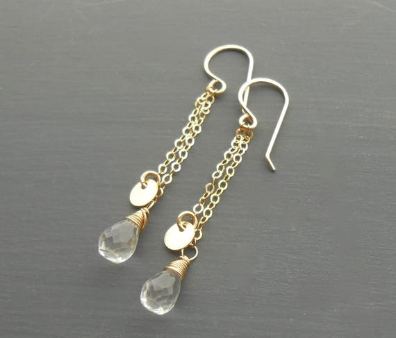 Long Gold Dangle Disk Earrings