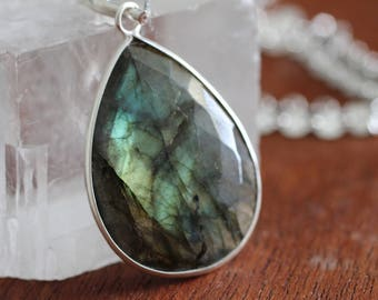 Huge Flashy Labradorite Pendant Necklace. Long Sterling Silver Fancy Chain Lab  Necklace. Circle Sparkly Chain.