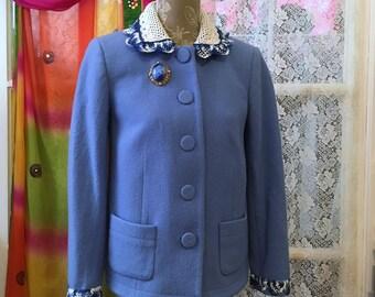 Boho Blue Wool Jacket With Crochet Collar Size 4