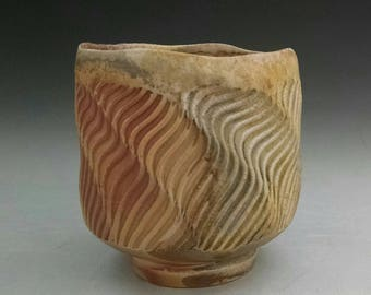 WoodFired Flashing Porcelain Cup - Faceted with Linear Design & Thrown Yunomi