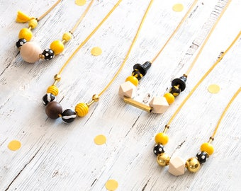 Yellow Beaded Necklace, Statement Necklace, Chunky Beads, Modern Necklace, Bold Colors Necklace, Hand-made Beads