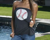Baseball with Red Laces. Women's Tube Top.  Multiple Colors to Choose From. Strapless Baseball Top.  Baseball Lounge Top.