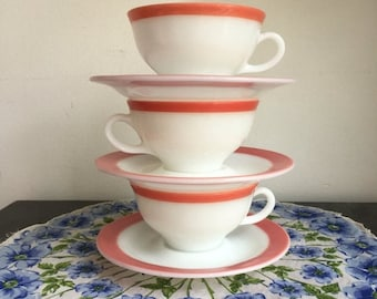 SALE Vintage Pyrex Cup and Saucer - 3 Available, Pink Flamingo