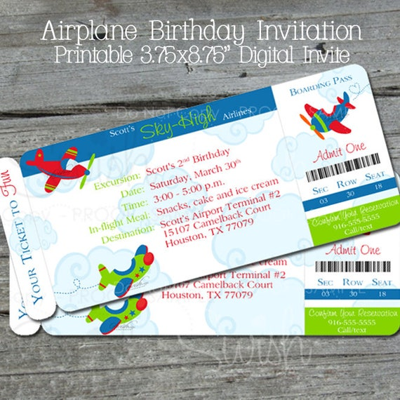 Airplane Ticket Boarding Pass Birthday Invitation: Airplane Party Invite