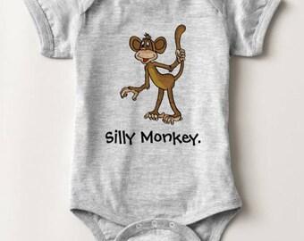 Silly Monkey Animal Baby Bodysuit Newborn Infant Boy Girl Shower Gift