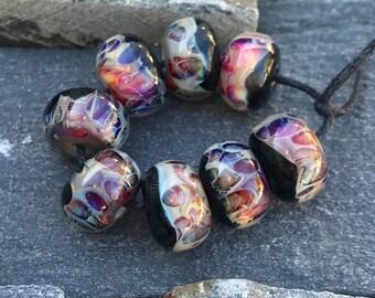 Lampwork Beads - Boro Beads - Shimmer Black and Purple Magenta