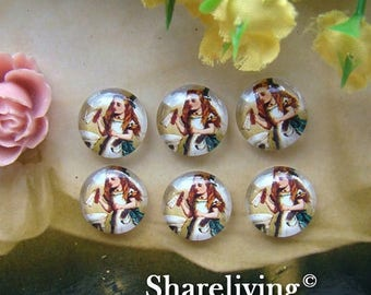 SALE - 30% OFF Glass Cabochon, 8mm 10mm 12mm 14mm 16mm 20mm 25mm 30mm Round Handmade photo glass Cabochons  (Alice In Wonderland) -- BCH141C
