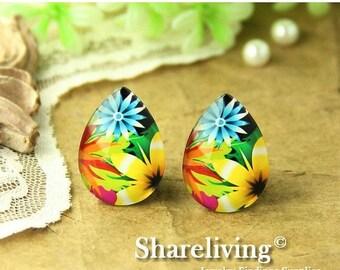 SALE - 30% OFF 4pcs 18x25mm Handmade Photo Teardrop Glass Cabs Cabochons ( Flower )  -- BCH959B