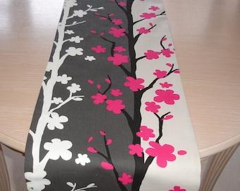 "72"" Table Runner 180cm Nordic Tree Design Fuschia Pink Black Charcoal Grey Cream White Fuchsia NEW Hot Bright Pink Trees 6ft Long"