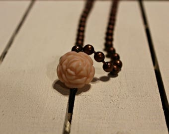 Rose Necklace - RuSTy PeArLs and pink vintage look rose bead
