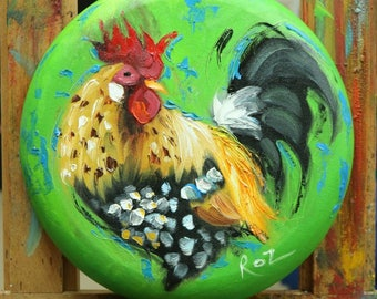 Rooster 869 12 inch diameter animal portrait original oil painting by Roz