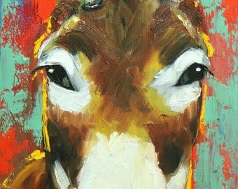 Donkey painting 5 12x24 inch original oil painting by Roz
