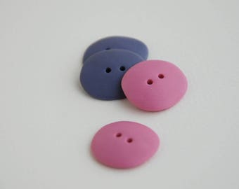21 mm handmade Buttons, Set of 4, Pink+Violet colors