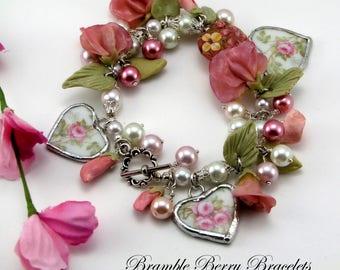 Pink Flower Bracelet Broken China Bracelet Broken China Jewelry  Wedding Jewelry   Bridal Jewelry Handmade Bracelet  Handmade Jewelry