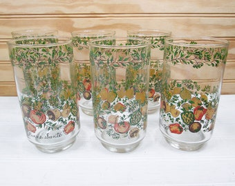 6 Vintage Libbey Spice Of Life Drinking Glasses Tumblers Corning Corelle Set Lot