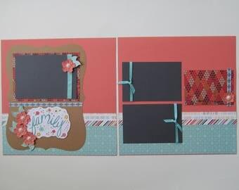 Family #2 Premade or  DIY Kit, 12x12 Scrapbook Layout, Scrapbook Page Kit