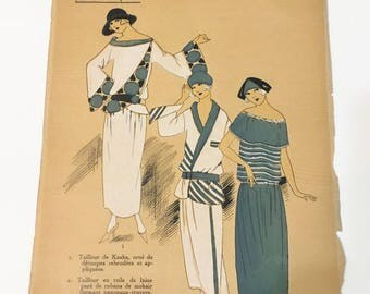1922 Fashion Illustration of Les Idees Nouvelle  New Ideas in Fashion from Paris Tipped In Pochoir  Plate  Hand Colored