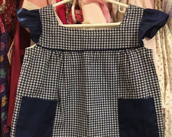 1960s Blue Houndstooth Dress 2/3T