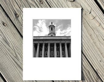 50% OFF SALE Black and White Penn State Photo, Old Main Picture, PSU, Nittany Lions, Architecture, 5x5 inch photo matted to 8x10 inches