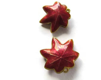 25mm Red Cloisonne Leaf Beads Leaf Charms Cloisonne Plant Beads Cloisonne Charms Cloisonne Pendants Jewelry Making Beading Supplies