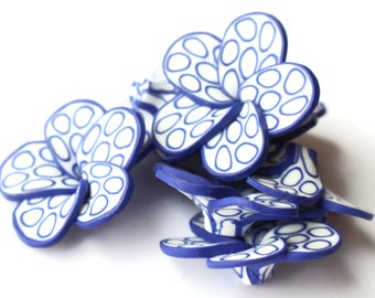 Royal Blue Polka Dot Beads White Flower Beads Polymer Clay Beads Hibiscus Beads or Plumeria Flower Bead 34mm Beads Qty 8 Beading Supplies