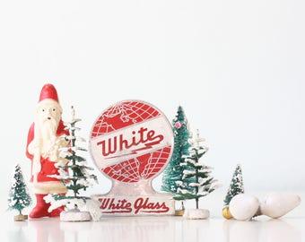 Vintage Red Globe, White Glass Appliance Logo Tin Tag