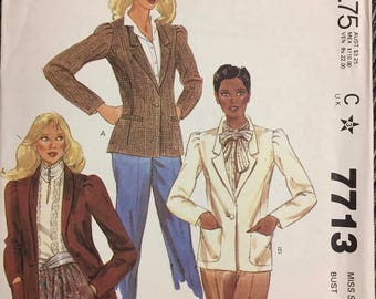 Uncut 80's Misses'  Lined Jackets Sewing Pattern McCall's 7713 Bust 34 Size 12  Complete UNCUT