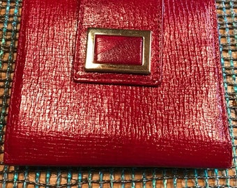 vintage red leather wallet made in spain expressly for Abraham & Strauss