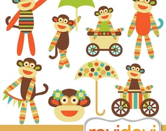 35% OFF SALE Cute sock monkeys clip art, digital images - Oh La La Sock Monkeys Cliparts - instant download