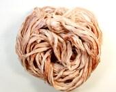 peach cobbler .. hand dyed silk ribbon yarn, recycled silk fabric ribbon, soft knitting, weaving, crochet supply