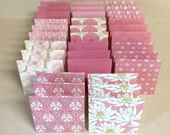 Mini Cards 33 pink mix - blank for thank you notes 3 x 3