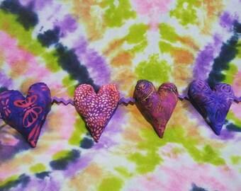 Valentine Heart Garland Bunting Pink Purple Batik Fabric Great Boho Hippie Gypsy Decor